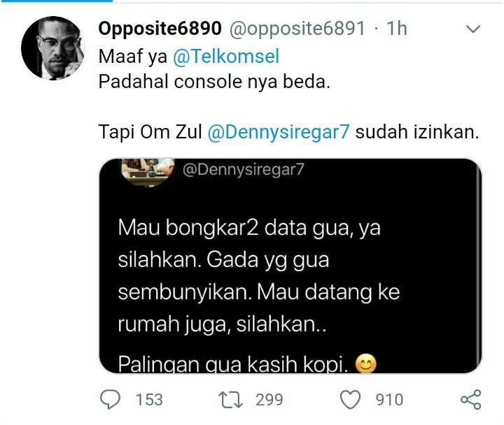 Diretas Teroris, Data Telkomsel Denny Siregar Bocor