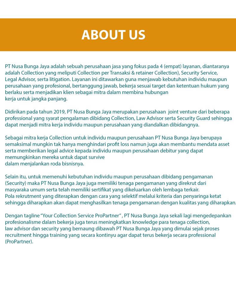 PT Nusa Bunga Jaya - Your Collection Service ProPartner