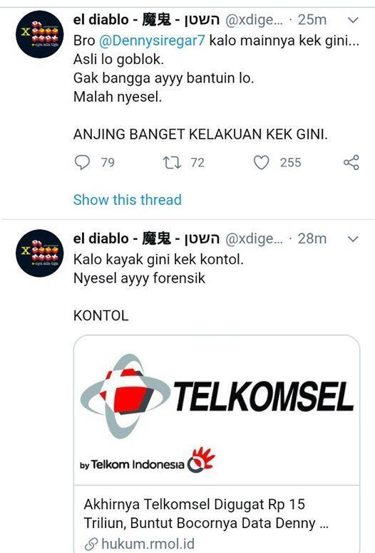 ElDiablo Marah,Sebut Goblok Gugat Telkomsel 15 T, Muannas:Gugatan Bukan dari Pihak DS