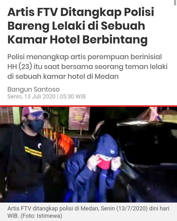 Artis FTV Ditangkap Polisi Bareng Lelaki di Sebuah Kamar Hotel Berbintang