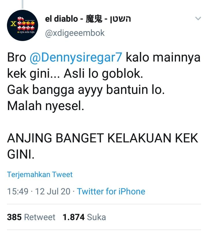 Kekesalan @xdigeeembok terhadap Danny Siregar yang menggugat denda Telkomsel