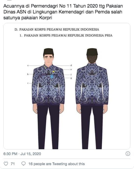 Viral Potret PNS Pakai Baju Korpri Gaya Gamis, Ini Aturan Seragam yang Benar