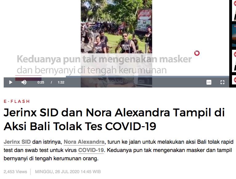Tanpa Masker, Jerinx Ikut Aksi Bali Tolak Rapid dan Swab Test