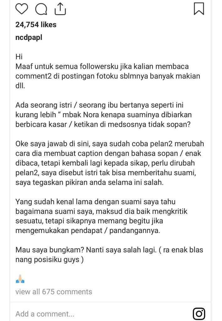 Nora Alexandra Akui Sering Ingatkan Jerinx untuk Sopan saat Melontarkan Kritik