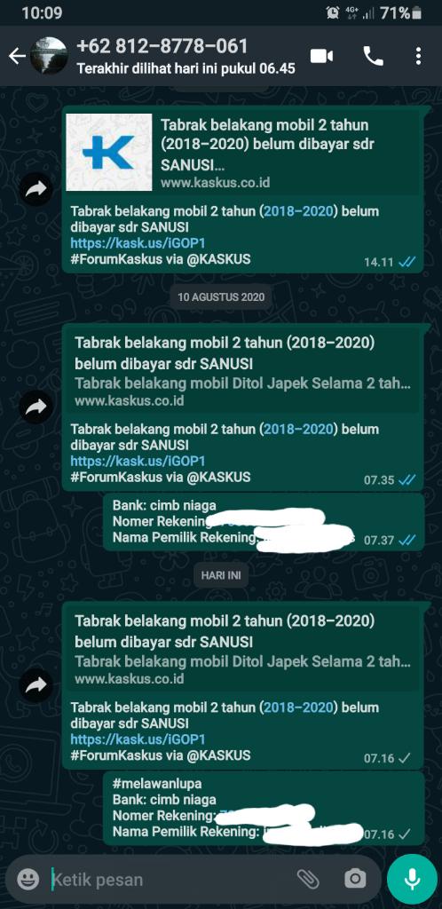 Tabrak belakang mobil 2 tahun (2018-2020) belum dibayar sdr SANUSI