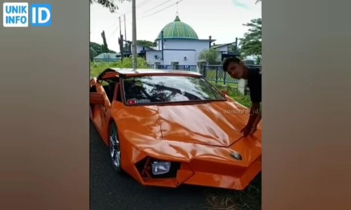 Unik, Replika Lamborghini Kreasi Anak Aceh Bermesin Motor Vixion! Mirip Aslinya Gak?