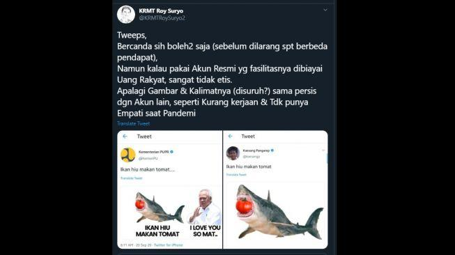 Gegara Ikan Hiu Makan Tomat, Kaesang & Kementerian PUPR Disentil Roy Suryo