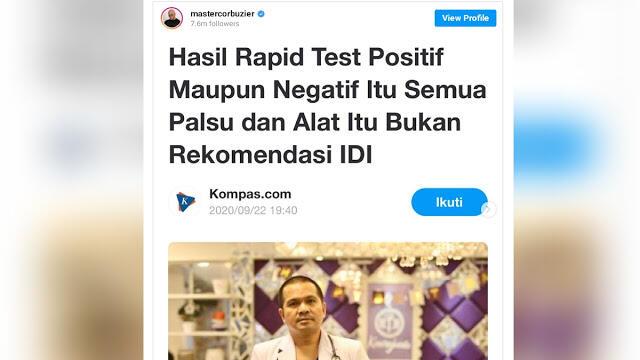 IDI Sebut Hasil Rapid Test Semuanya Palsu, dr Tirta: Ngeri Iki, Suangaaarrr…