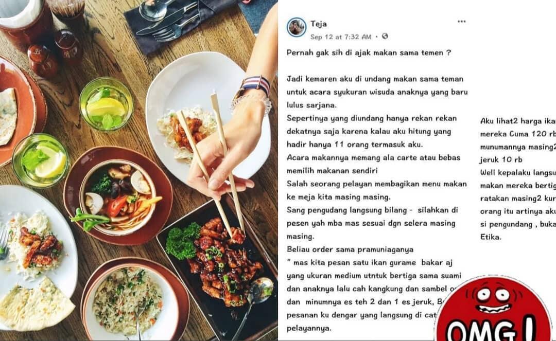 Curhat Pria Melihat Teman tak Beradap Ketika Ditraktir Makan, Bikin Netizen Ribut!
