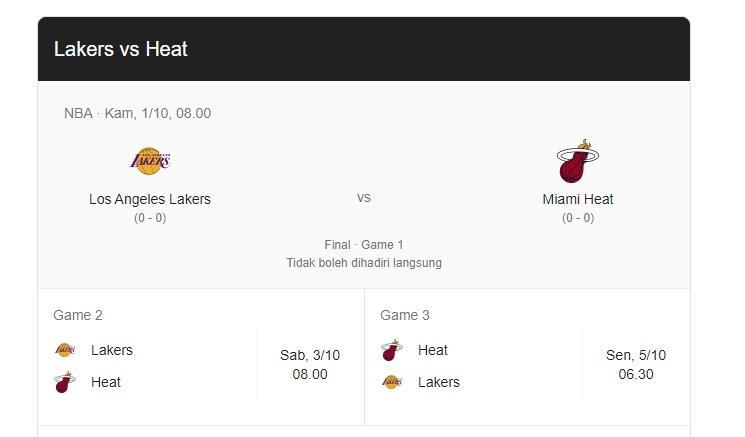 Menanti Aksi LA Lakers vs Miami Heat di Final NBA 2020