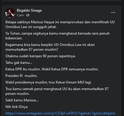 Marissa Haque:Demi Allah, Omnibus Law Muslimin yg 87% Dimurtadkan, BS:Sakit Jiwa Kamu