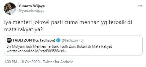 Cibir Sri Mulyani Menkeu Terbaik untuk Asing, Fadli Zon Disindir Yunarto