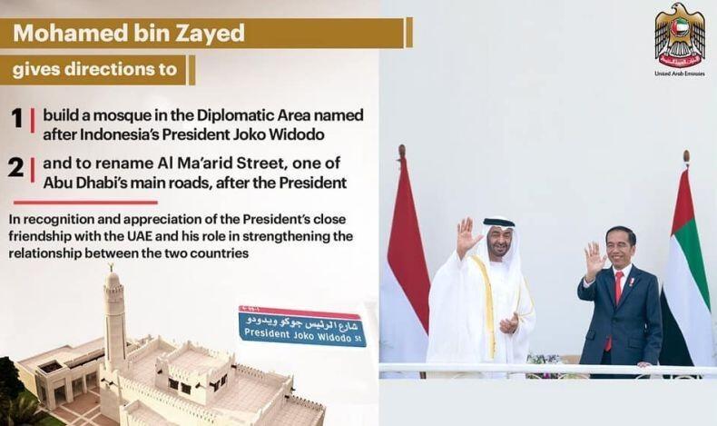 Bukan Hanya Jalan, Masjid Joko Widodo Akan Berdiri di Uni Emirat Arab