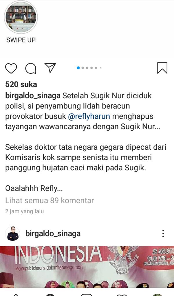 Sugi Ditangkap, Refly Harun Ketar-ketir Tayangannya di Twitter Dihapus