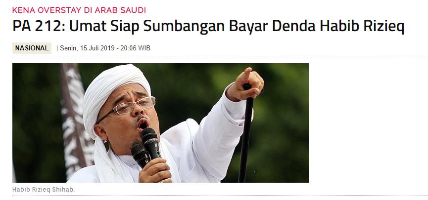 Habib Rizieq: Siapapun yang Sebut Saya Overstay Akan Saya Tuntut!