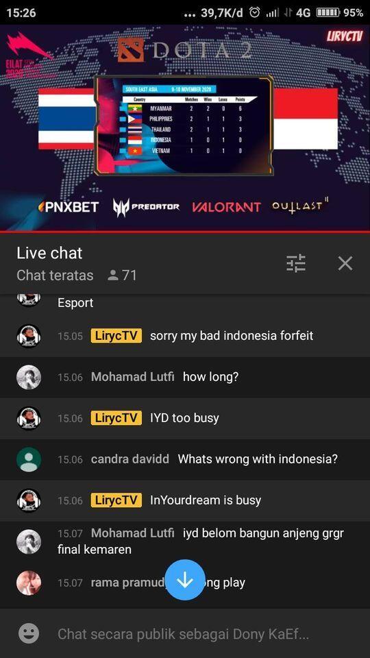 Internet Bapuk, Timnas DOTA Indonesia Dianggap Walkout