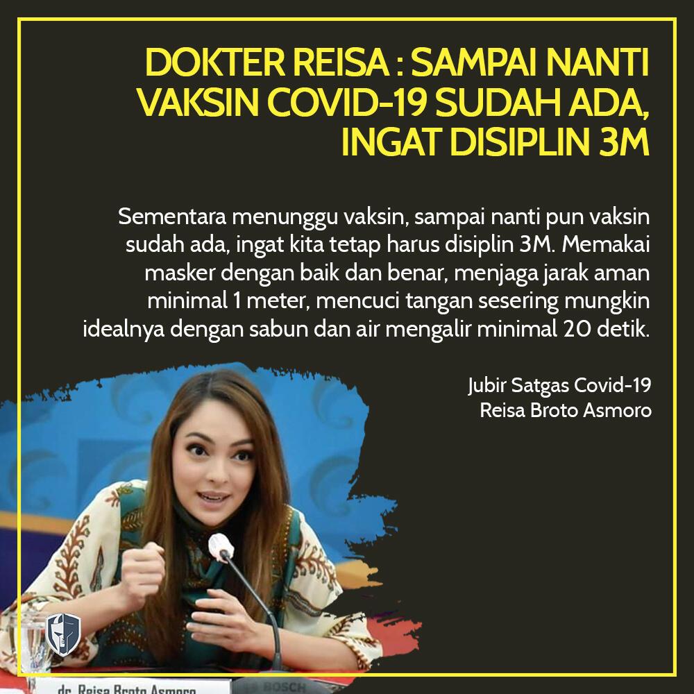 Dokter Reisa : Sampai Nanti Vaksin Covid-19 Sudah Ada, Ingat Disiplin 3M