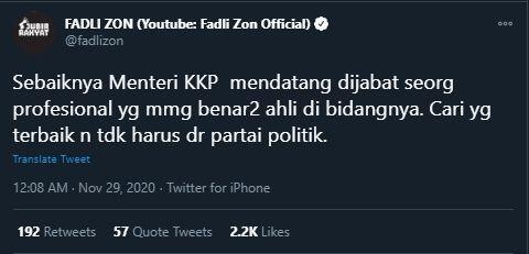 Fadli Zon Akan Gantikan Edhy Prabowo Jadi Menteri Kelautan dan Perikanan