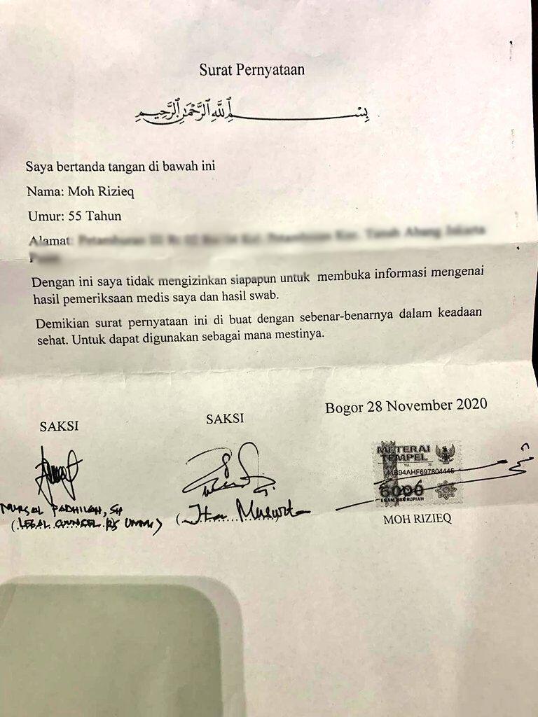 Ini Surat Pernyataan Habib Rizieq Tolak Publikasikan Hasil Swab