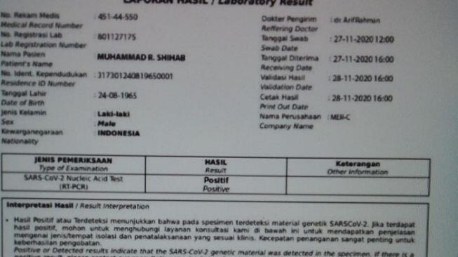 Habib Rizieq Disebut Positif Corona dari Hasil Swab MER-C, FPI: Hoaks!