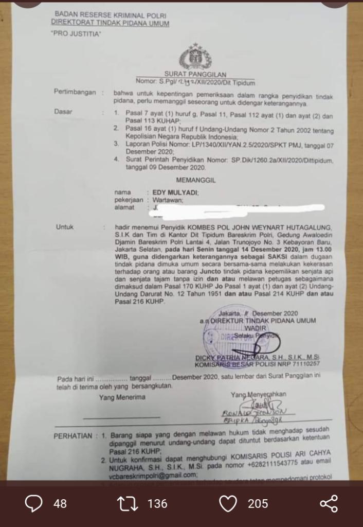 Video Hoax Penembakan LaskarFPI Tersebar,Bareskrim Polri Panggil Wartawan Edy Mulyadi