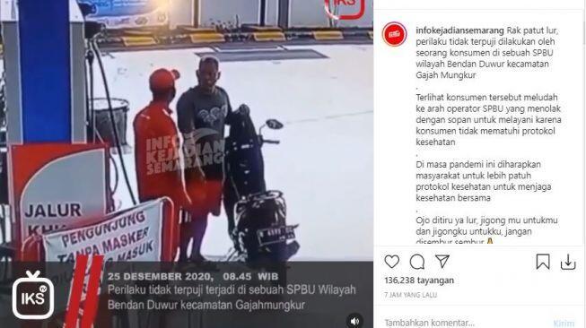 Ditegur Tak Pakai Masker, Pria Ngamuk Ludahi Petugas SPBU, Publik Geram
