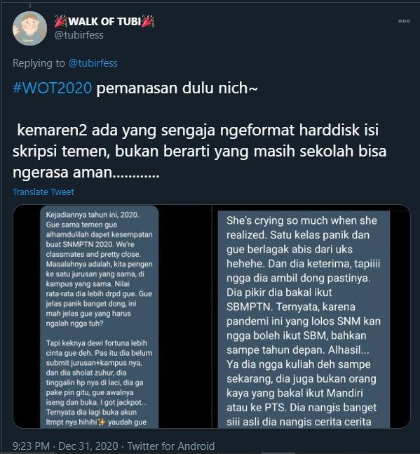 Viral Kisah Anak SMA Gagalkan Sahabat Masuk PTN Favorit, Tak Ada Penyesalan