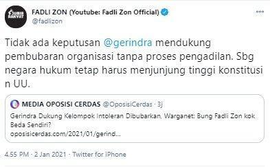 Fadli Zon Bantah Gerindra Keluarkan Putusan Dukung Bubarkan Ormas Intoleran