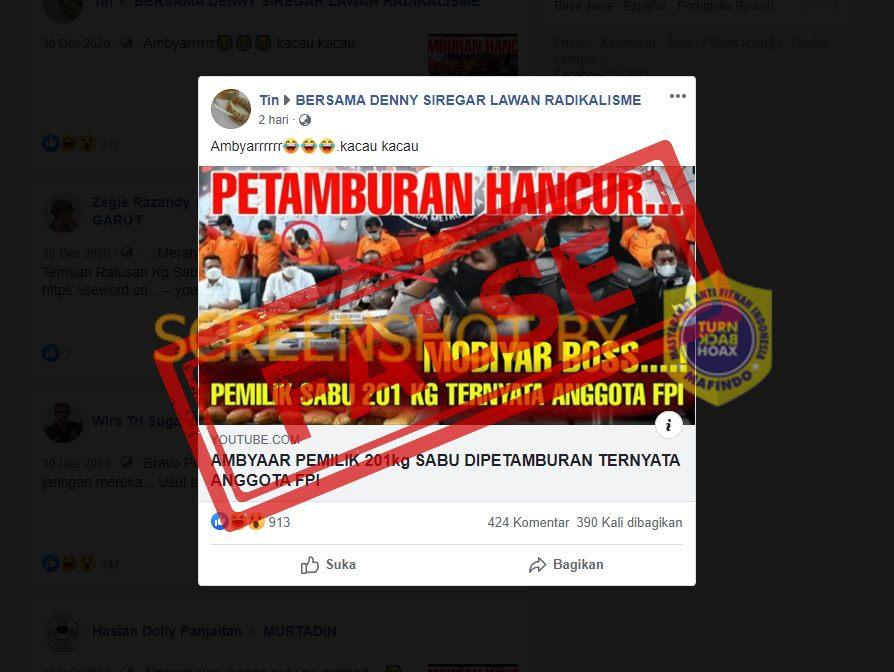 Pemilik Sabu 210 Kg di Petamburan Ternyata Anggota FPI