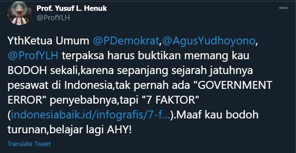Pedas! Soal Sriwijaya Air SJ182 Jatuh, Guru Besar USU Sebut AHY Bodoh