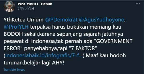 Panas! Soal Sriwijaya Air Jatuh, Prof Yusuf Semprot AHY: Kau Bodoh Sekali