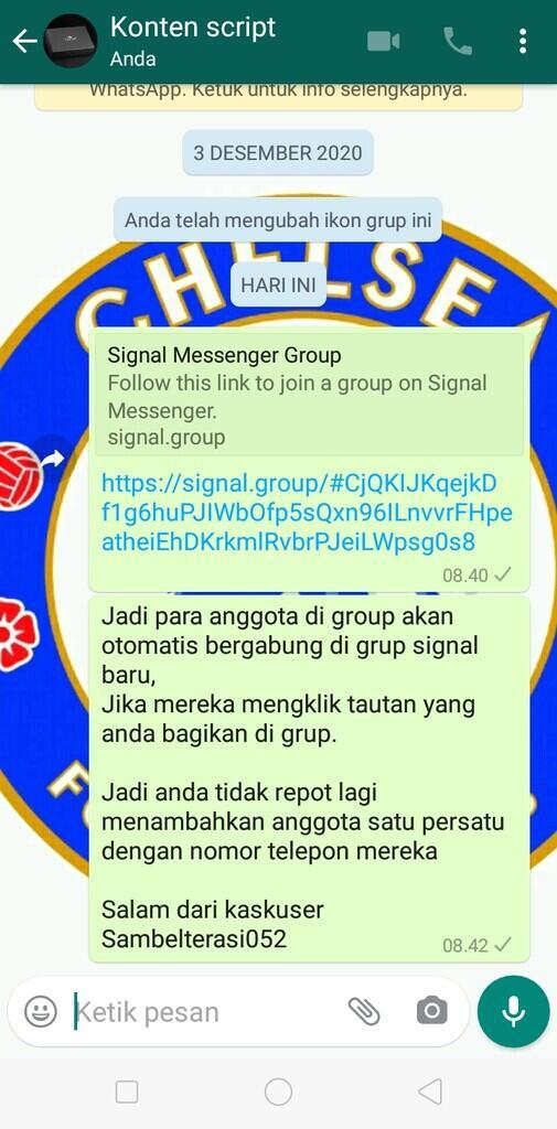 """Begini Cara """"Signal"""" Cepat Undang Anggota WhatsApp, Hanya Dengan Link"""