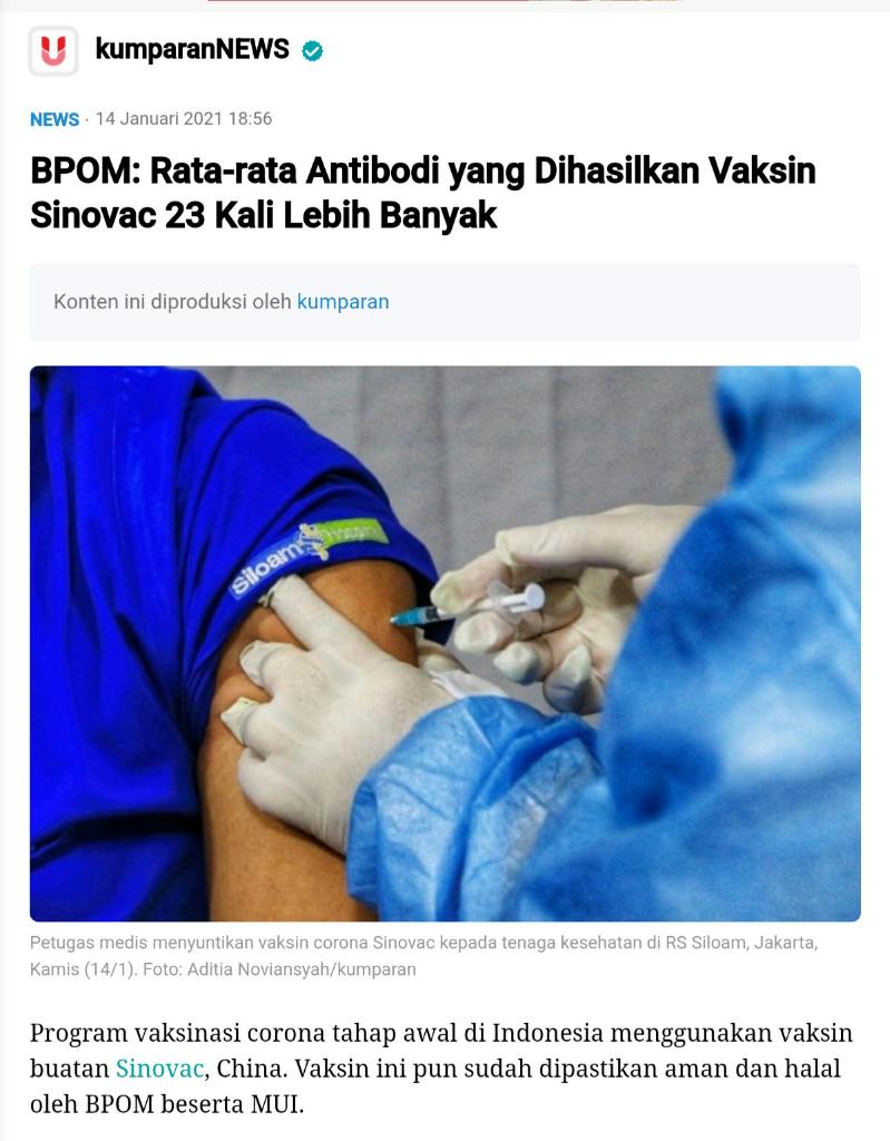 Bagaimana Cara Kerja Vaksin Sinovac Dalam Tubuh Manusia?
