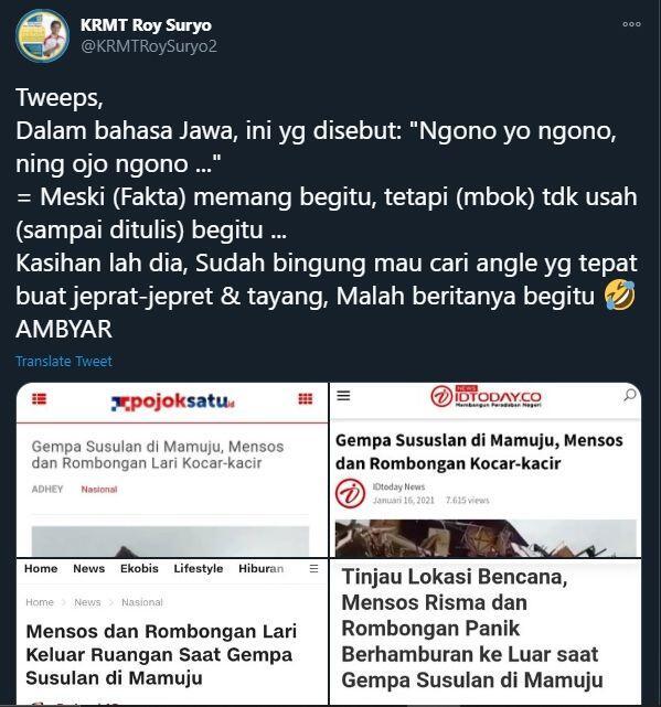 Mensos Risma Lari saat Gempa, Roy Suryo: Kasihan Bingung Cari Angle Foto