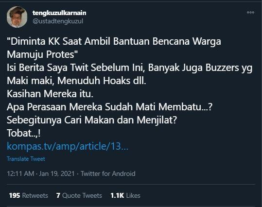 Tengku Zulkarnain Merasa Diusik Buzzer: Segitunya Menjilat, Tobat!