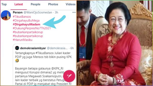 Ibu Megawati Berulangtahun ke-74 Hari Ini, di Twitter Muncul Tagar #DirgahayuMadam
