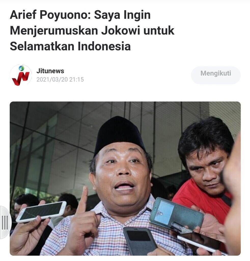 Arief Poyuono: Saya Ingin Menjerumuskan Jokowi untuk Selamatkan Indonesia
