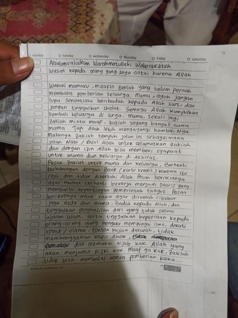 Zakiah Aini Penyerang Mabes Polri Tinggalkan Surat Wasiat, Ini Isinya