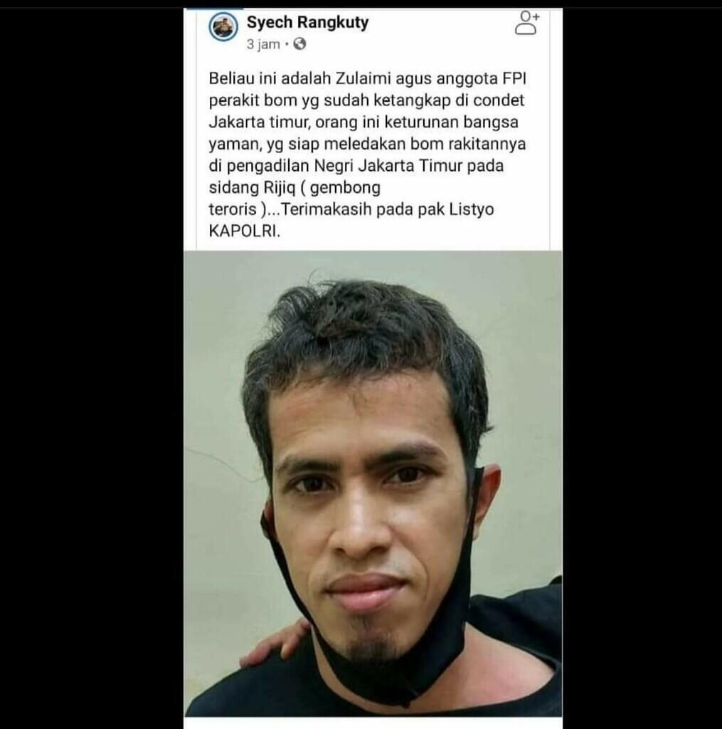 Zulaimi Agus Perakit dan Pendana Bom yang ditangkap di Condet, Jakarta Timur