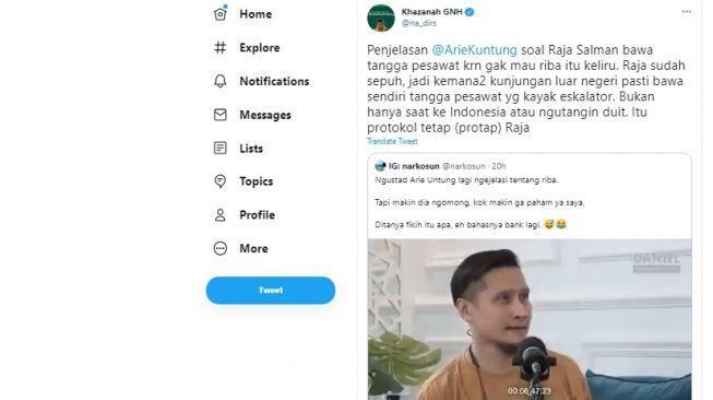 Arie Untung Dinilai Keliru Soal Raja Salman Bawa Tangga untuk Jauhi Riba