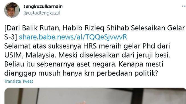 HRS Raih Gelar S3 dari Dalam Rutan, Tengku Zul: Beliau Itu Aset Negara
