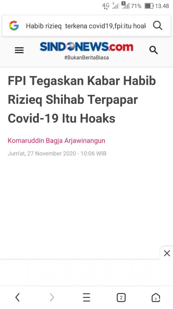 Terungkap Cerita Awal Habib Rizieq Positif COVID-19 dan Privilege di RS UMMI