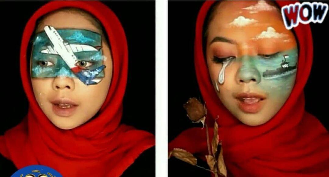 Kreatif, Wanita ini Gambarkan Berbagai Tragedi Tahun 2021 Melalui Lukisan di Wajahnya