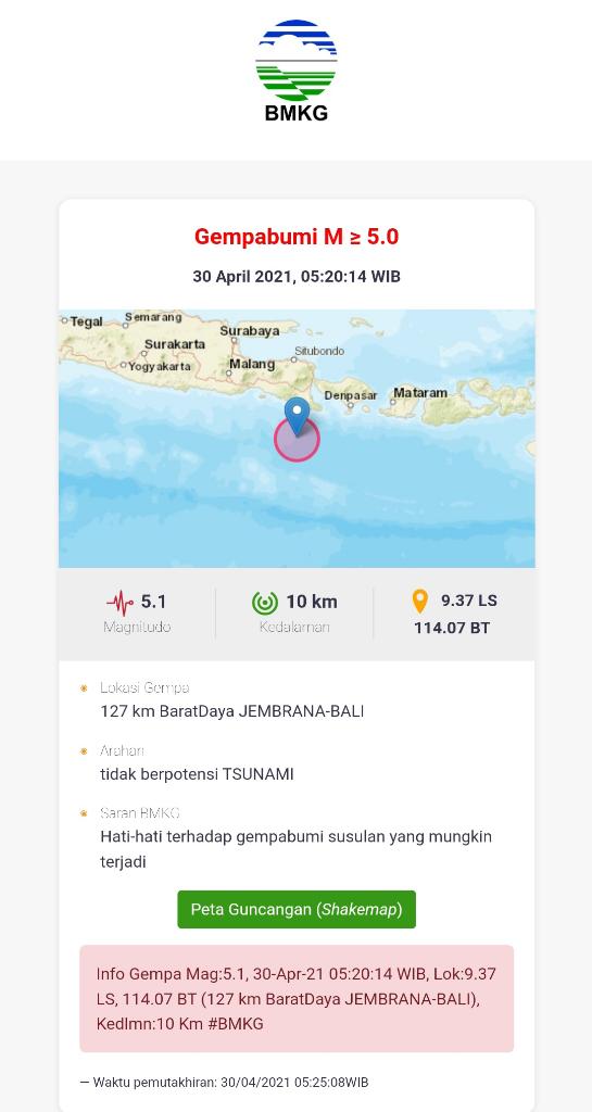 Gempa Berskala 5.1 Guncang Daerah Barat Daya JEMBRANA BALI