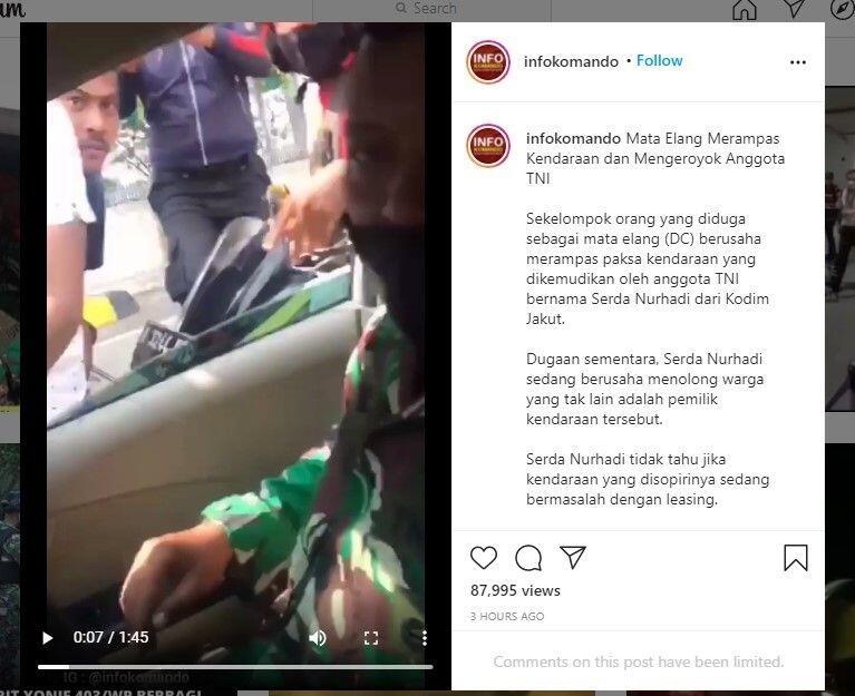 Anggota TNI Bawa Warga Sakit Diserbu Debt Collector, Dituduh Larikan Mobil