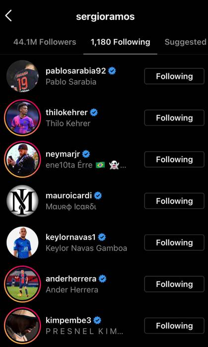 Follow Pemain PSG Di Instagram, Sergio Ramos Menuju Paris?