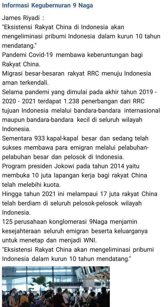 James Riyadi: 10 Tahun Mendatang, Rakyat China Akan Eliminasi Pribumi Indonesia