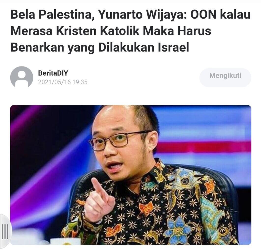 BelaPalestina,Yunarto:OON kalau Mrs KristenKatolik Mk Hrs Benarkan yg Dilakukn Israel