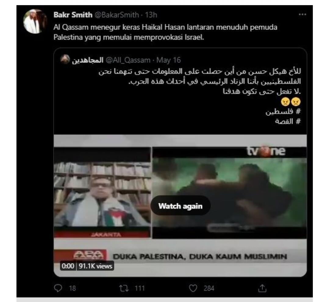 Tuduh Palestina Provokasi Israel, Haikal Hassan Diancam Al Qassam