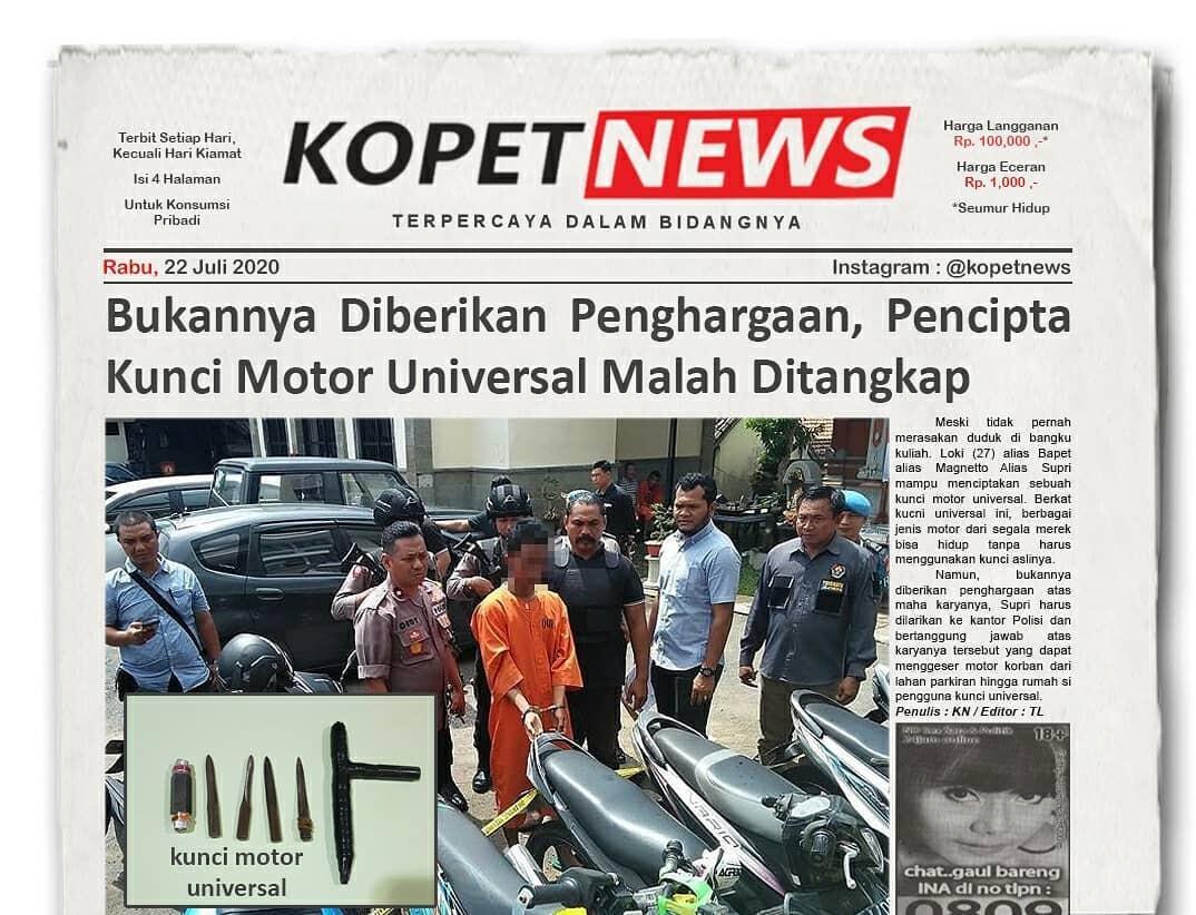 Kocak, 5 Berita Ngawur Dilansir dari KopetNews, Terbit Tiap Hari Kecuali Hari kiamat!